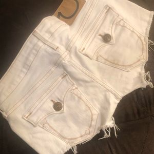 True Religion Joey White Jean Shorts